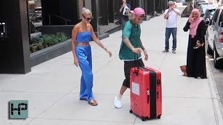 Justin Bieber Is a Gentleman!  Loads Fiance's Luggage & Grabs Coffee as Hailey Baldwin Waits