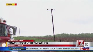 Power lines, trees down in Orange County after tornado warning