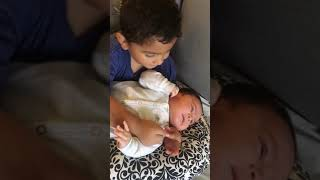 Cutest toddler sings the ABC's to his baby brother
