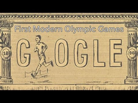 First Modern Olympic Games at Athens in 1896. Google shows Doodle for 120th Anniversary.