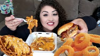 HUGE ONION RING BURGER & THE BEST DANG CHILLI CHEESE FRIES MUKBANG   STORYTIME