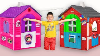/max play with funny playhouses toys compilation from smile toy review
