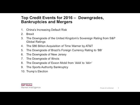Top Credit Events of 2016 – Downgrades, Bankruptcies and Mergers