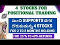 #StockMarketTelugu | Best 4 Stocks For Positional Trading | 2 To 3 Months Holding |