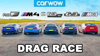 BMW M4 v AMG C63 S vs Lexus RC F v old M3 & C63: DRAG RACE