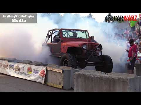 Red Jeep 2 Wheel Burnout At Rod Benders Burnout Competition
