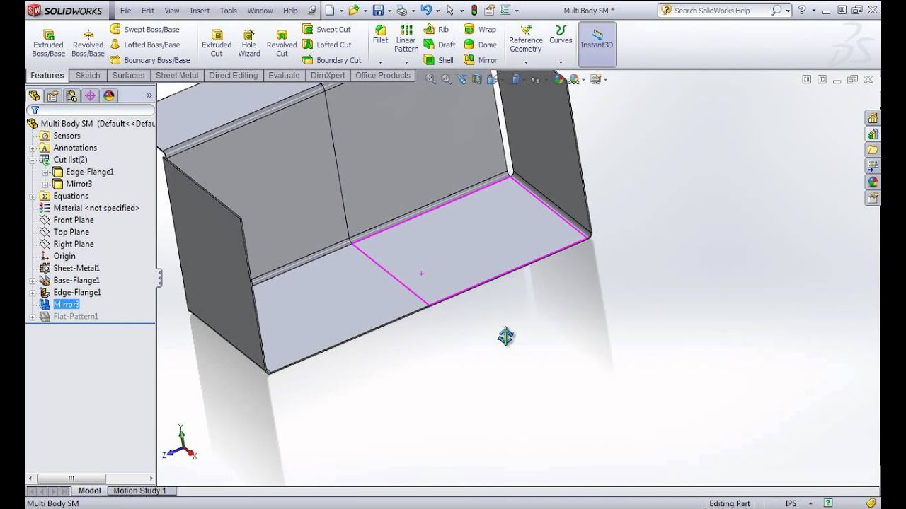 Solidworks Sheet Metal Tutorial Mirror Body By Solidwize