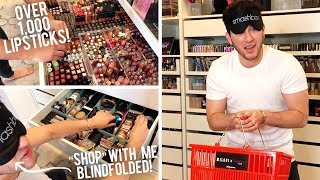 Shopping my Beauty Room... BLINDFOLDED CHALLENGE! Full Face of HELP!