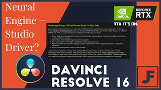 Neural Engine = Switch your graphics driver?  Davinci Resolve 16 + Nvidia Studio Driver