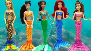 Mermaids Makeup Ariel Rapunzel Belle Mulan Mermaid Tail & Costumes Change Disney Princess DOLL