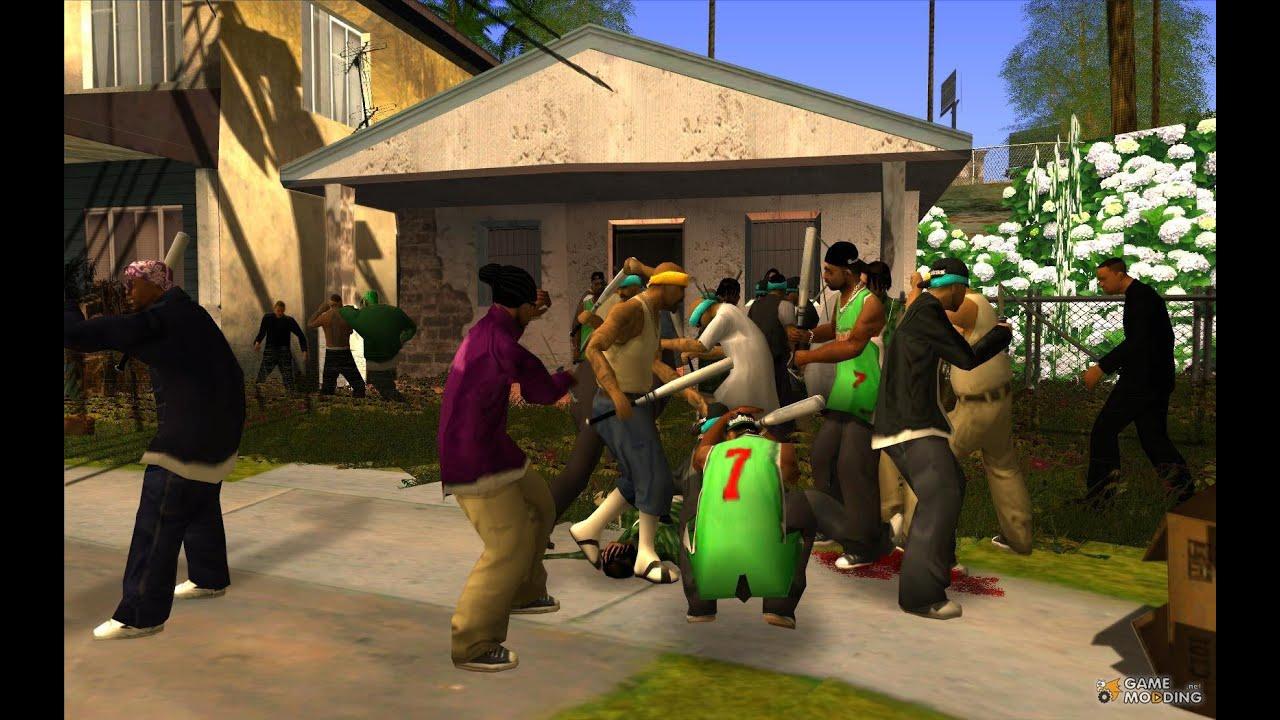 GTA SAN ANDREAS GANG WAR FIGHT - YouTube