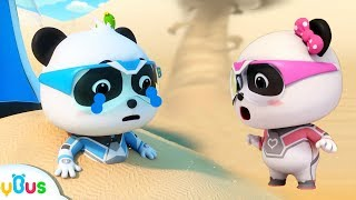 Help! Baby Panda's Trapped in Sand Storm   Super Panda Rescue Team   Cartoon for Kids   BabyBus
