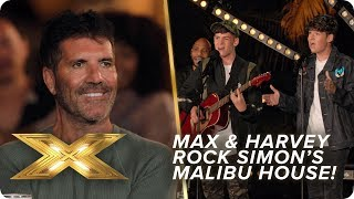 Max & Harvey shake off nerves to rock Simon Cowell's Malibu home! | X Factor: Celebrity