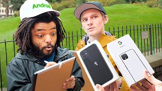 Whoever Is Smarter, Gets A New Phone! (iPhone Fans vs Android Fans)