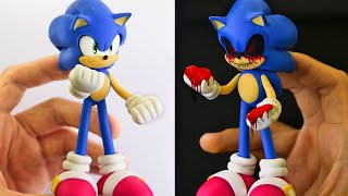 SONIC convert into SONIC.EXE (2 in 1)💀 Polymer clay Tutorial