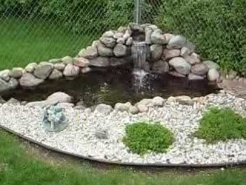 Aquatic Innovators, LLC - Corner pond with waterfall and LED underwater lights