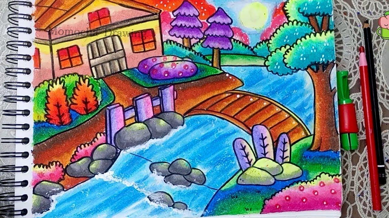 Cara Menggambar Dan Mewarnai Pemandangan Alam Rumah Sungai