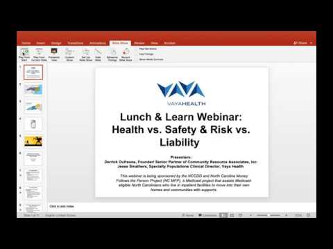 Lunch & Learn Webinar: Health vs Safety & Risk vs  Liability