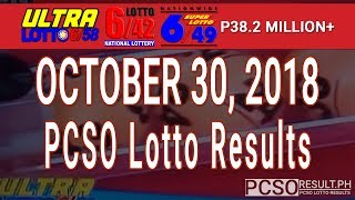 PCSO Lotto Results Today October 30, 2018 (6/58, 6/49, 6/42, 6D, Swertres, STL & EZ2)