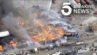Massive Fire Burns at Ontario Recycling Center