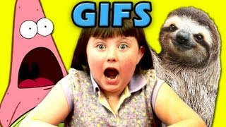 KIDS REACT TO GIFs! (Surprised Patrick, Sloths, Deal With It)