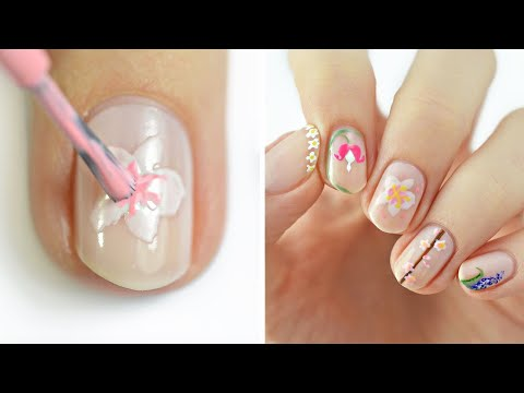 Minimalistic Nail Art 2021   Fun & Easy Floral Nail Design Compilation!