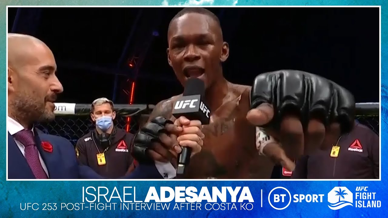 Israel Adesanya drops bombs on the mic after knockout win over Paulo Costa   UFC 253