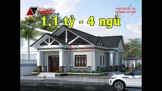 Thiết kế nhà 1 tầng 4 phòng ngủ