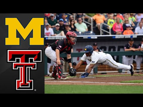 Michigan vs #8 Texas Tech College World Series Opening Round | College Baseball Highlights