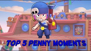 Brawl Stars Top 5 Best Penny Moments. 300 IQ Lucky & Funny Moments Compilation/Montage