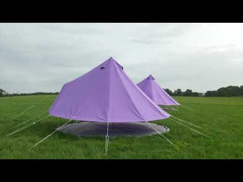 Boutique Camping Pastelllilanes Rundzelt mit Reißverschluss-Bodenplane