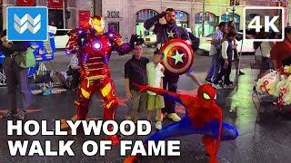 Hollywood Boulevard Walk of Fame at Night | Virtual Walking Tour | Los Angeles Travel Guide【4K】
