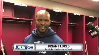 Patriots linebackers coach Brian Flores addresses media