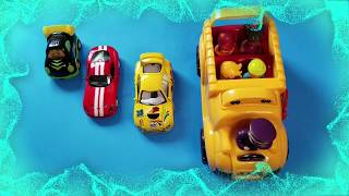 learn sizes small to biggest & learn colors & number with toys & the wheels on the bus nursery rhyme