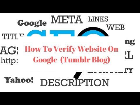 How To Verify Website On Google - Verify Domain Ownership Google (Tumblr Blog)