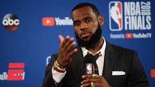 LeBron James walks out of Game 1 press conference after question about JR Smith's blunder | ESPN