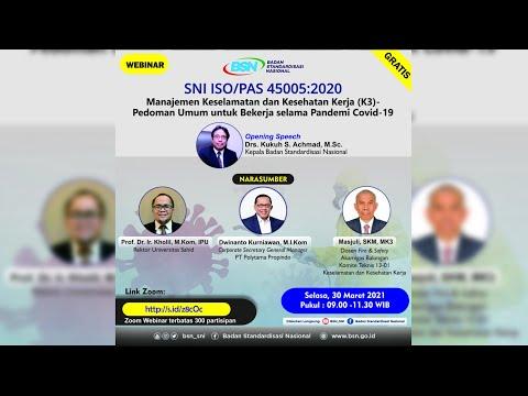 https://www.youtube.com/watch?v=TlbrAAqWI8sSNI ISO/PAS 45005:2020 Manajemen K3 - Pedoman Umum untuk Bekerja Selama Pandemi Covid-19