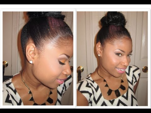 Lay Them Edges Like A Relaxer Top Knot Bun Youtube