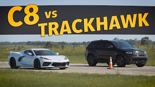 C8 Corvette vs Jeep Trackhawk | STREET RACE!
