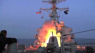 U.S. Navy Destroyer launches Tomahawk cruise missiles