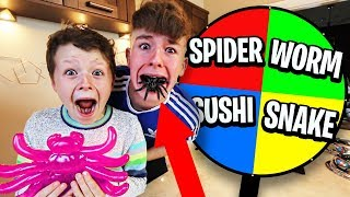 GUMMY vs REAL FOOD Spin the MYSTERY WHEEL Challenge w/LITTLE BROTHER!!