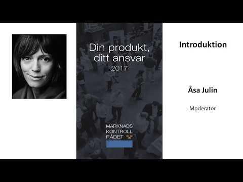 Moderator Åsa Julin öppnar seminariet Din produkt, ditt ansvar 2017