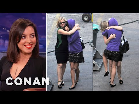 Aubrey Plaza & Amy Poehler's Makeout Session - CONAN on TBS