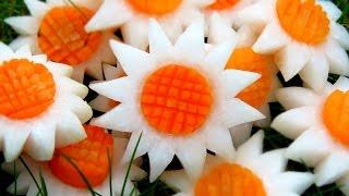 Art In Vegetable White SunFlowers | Vegetable Carving Garnish | Party Garnishing | Italypaul.co.uk