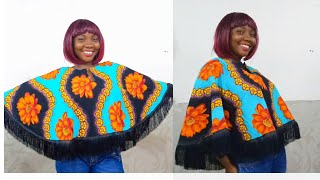 HOW TO MAKE A STYLISH CAPE TOP WITH FRINGE.  IN 30 MINUTES