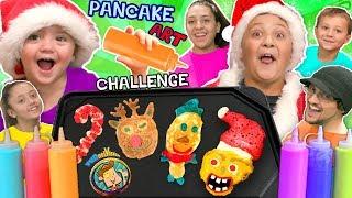 CHRISTMAS PANCAKE ART Challenge! FUNnel Vis Teams make 6 Pancakes in under 2 Minutes! Who Wi