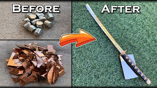 Casting A Solid BRONZE Katana & Ingot From Scrap Copper And Tin - Monster Bronze Melt