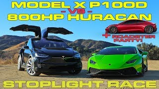 Tesla Model X P100D vs 800HP Lamborghini Huracan to 60 MPH and Tesla Roadster Party