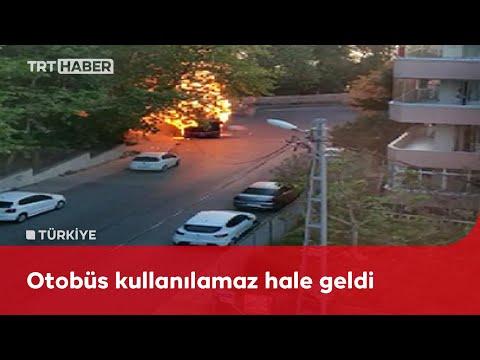 İstanbul'da park halindeki otobüs küle döndü