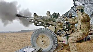 US Army Artillery Fire Very Powerful M119A3 Lightweight Howitzer   GoPro footage With Slow Motion